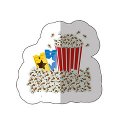 Color background sticker with popcorn container vector