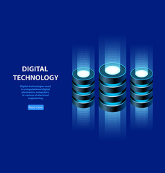 concept of isometric information base web hosting vector image