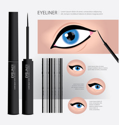 Cosmetic eyeliner packaging with types of eye vector