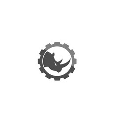 creative black rhinoceros gear logo design symbol vector image
