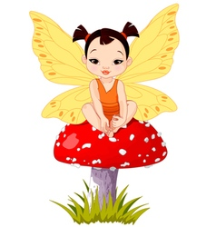 Cute Asian Baby Fairy On Mushroom vector image