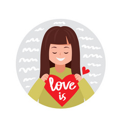cute girl with valentine heart vector image