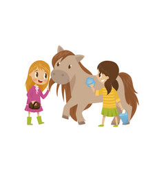 cute litlle girls taking care of they horse vector image