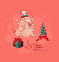 cute pig gift box and christmas tree vector image