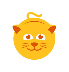 cute yellow cat symbol logo design vector image