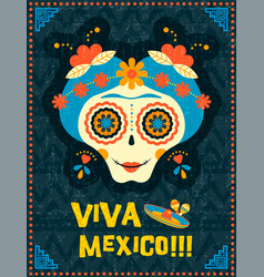 Day of the dead poster of mexican skull woman vector