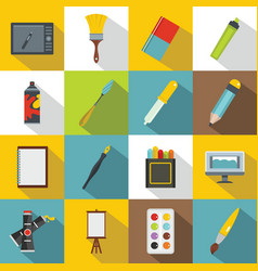 design and drawing tools icons set flat style vector image