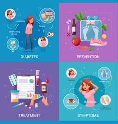 Diabetes cartoon 2x2 design concept vector