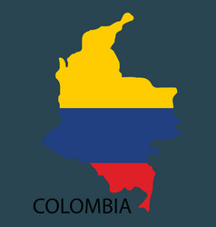 Flag-map of colombia vector