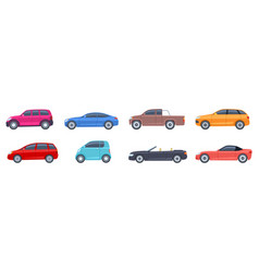 flat cars view side automobiles model vector image