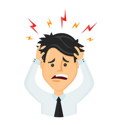 Flat man businessman with a headache vector