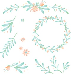 Floral bower and leaf berry vector