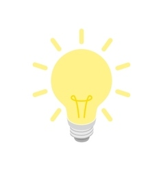 Glowing yellow light bulb icon isometric 3d style vector image