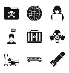 Gunman icons set simple style vector