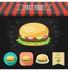Hamburger icon on a chalkboard Set of icons and vector image