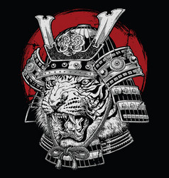 hand drawn highly detailed japanese tiger samurai vector image