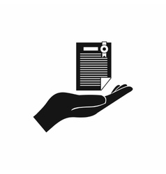 Hand holds insurance certificate icon vector image
