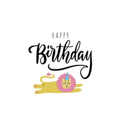 happy birthday greeting card cute postcard vector image