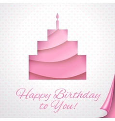 Happy birthday pink postcard with cake vector image