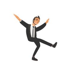 Happy dancing groomsman man in suit tuxedo in vector