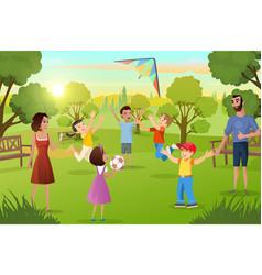 Happy family leisure in city park cartoon vector