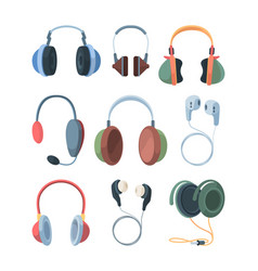 headphones collection set ultra modern wireless vector image