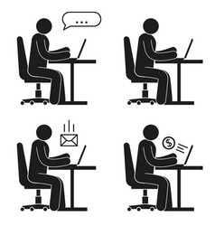 icon people sitting on office chair at desk vector image
