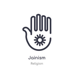 Jainism outline icon isolated line from religion vector