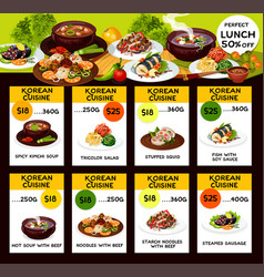 Korean cuisine food dishes vector