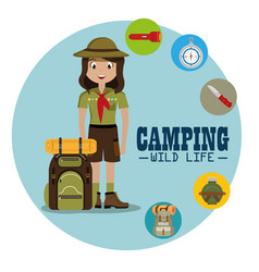 Lady scout with camping equipment vector