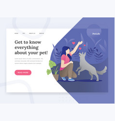 landing page template pet life vector image