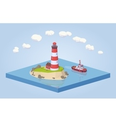 Lighthouse and tugboat vector