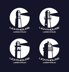 Lighthouse circle badges vector