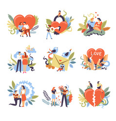 love heart and people proposal man and breakup vector image