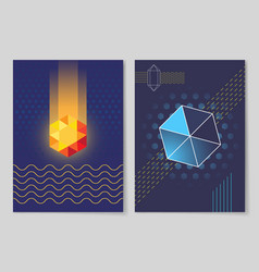 luminous crystal and six-pointed geometric shape vector image