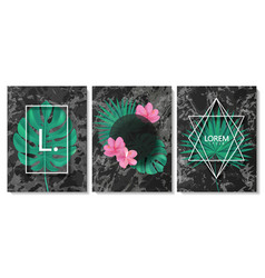 Luxury cards collection with marble texture vector