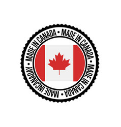 made in canada round rubber stamp for products vector image
