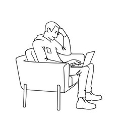 man with laptop side view monochrome vector image