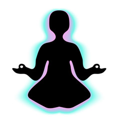 Meditating person with aura vector