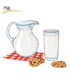 Milk in a jug and cookie vector