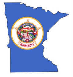 Minnesota outline map and flag vector