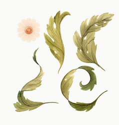 Modern art nouveau tiffany floral set vector