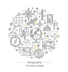 Modern color thin line concept of geography vector image