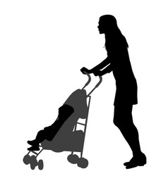 mother walking while pushing a stroller vector image