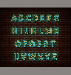 neon alphabet type font isolated on brick vector image