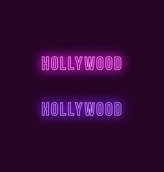 Neon name of hollywood district in los angeles vector