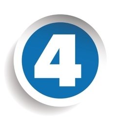 Number Four sticker blue vector image