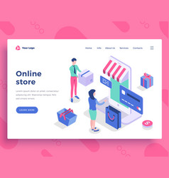 Online store concept people interact with mobile vector