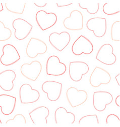 outline red and pink hearts seamless pattern vector image