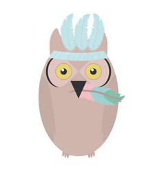 Owl bird with feathers hat bohemian style vector